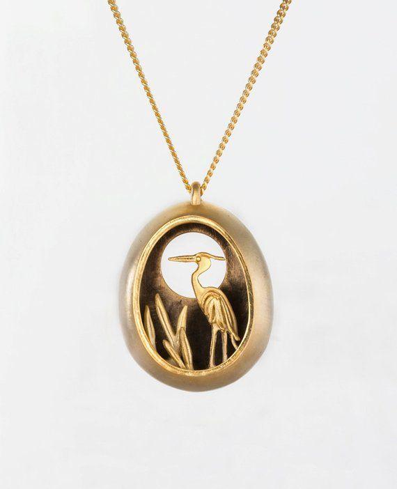 Heron Silver Necklace Bird Pendant Silver Bird necklace Animal Jewellery Silver Necklace Gift for her Heron Jewellery