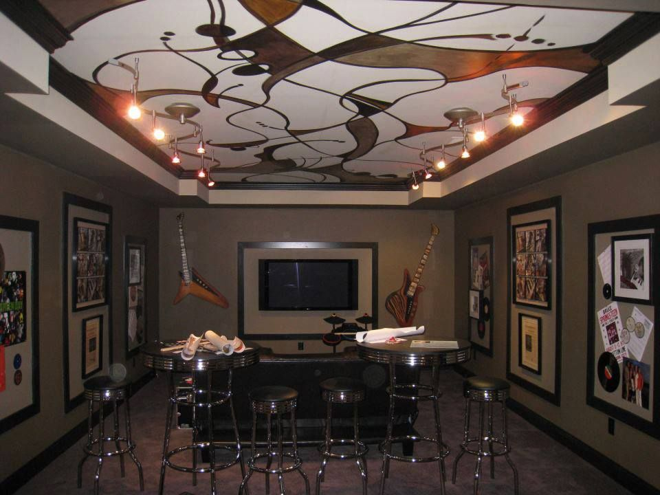 A very cool graphic mural ceiling and two guitars Broad ...
