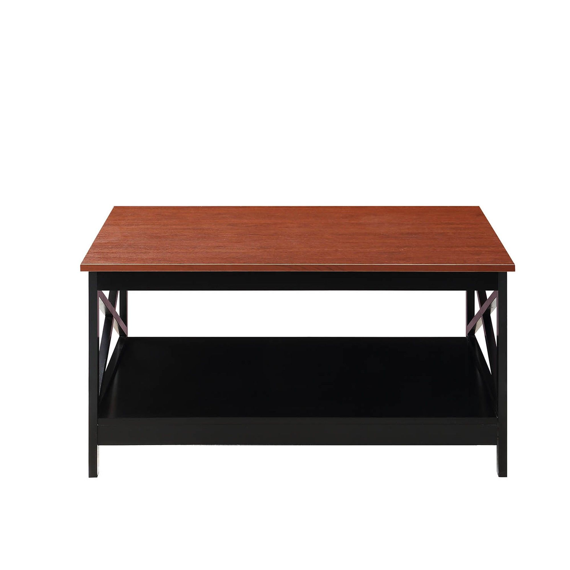 Oxford 36 Square Coffee Table Cherry Brown Black Johar Furniture Furniture Table Cherry Brown
