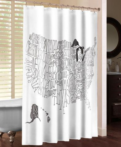 Hand Lettered US Map Black And White Shower Curtain Laural Home - Hand lettered us map black and white shower curtain