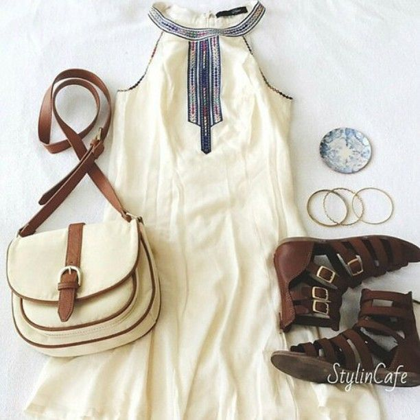 | Creme Colored Halter Tribal Printed Dress | Creme and Brown Purse | Brown Gladiator Sandals | Gold Bangles |