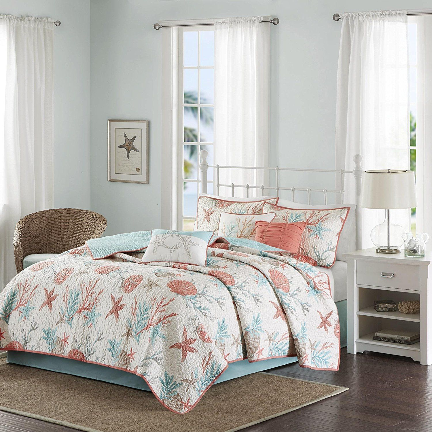 6 Piece Pink Coastal Full Queen Size Coverlet