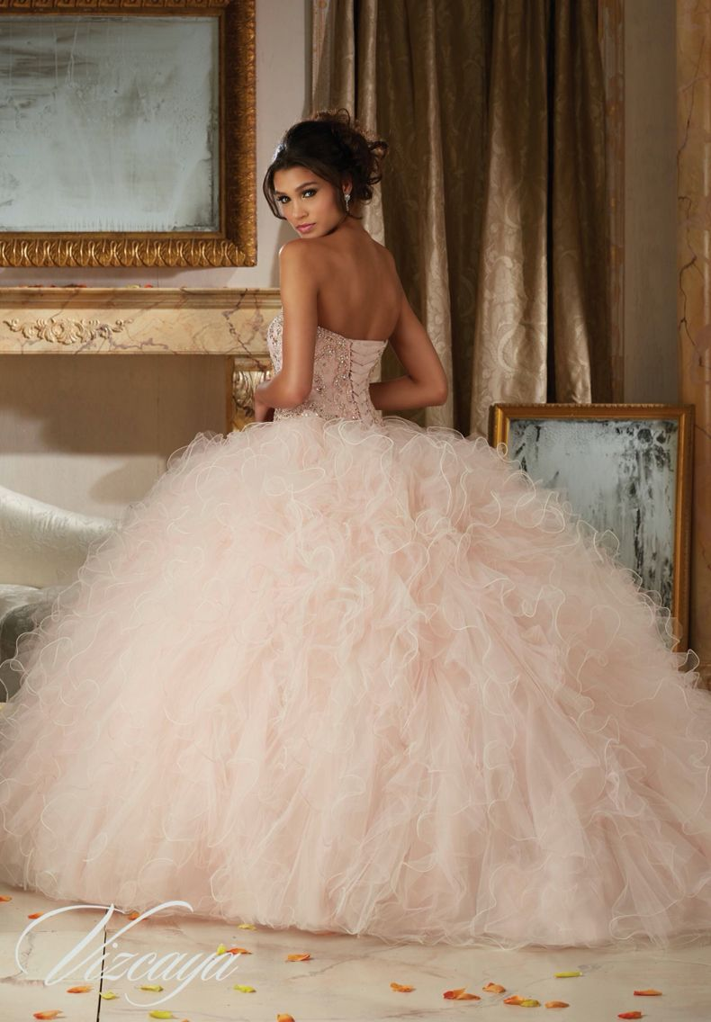 efdd58cdfbdfb Morilee Vizcaya Quinceanera Dress 89113 DAZZLING BEADED BODICE ON A RUFFLED  TULLE BALL GOWN Matching Bolero