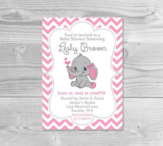 Elephant baby shower invitation pink elephant girl baby shower baby girl baby shower invitation elephant theme baby shower invitation printable the process filmwisefo