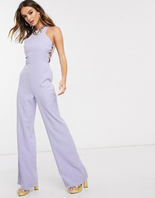 Missguided button side bridesmaid jumpsuit in lilac | ASOS