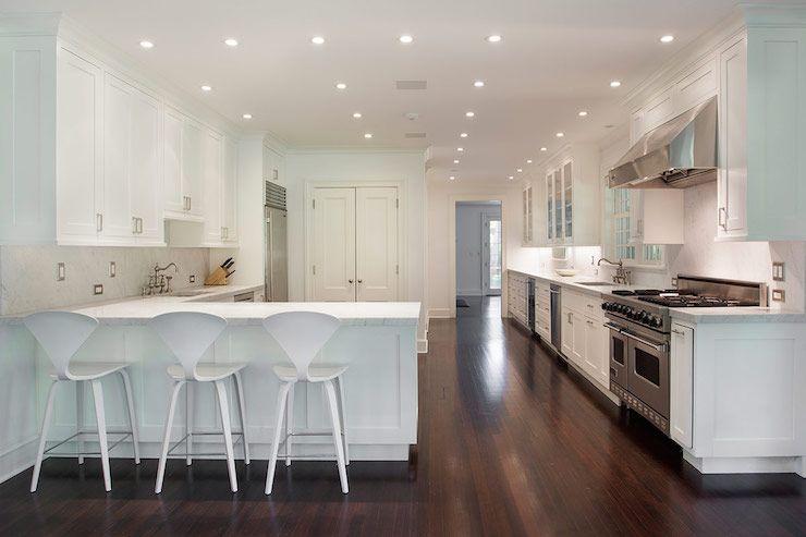 White Cherner Counter Stools Contemporary Kitchen John