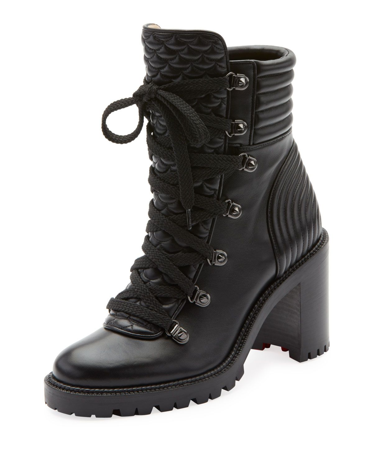 860de8be2f50 Christian Louboutin Mad Lace-Up Leather Block-Heel Hiker Boots In Black