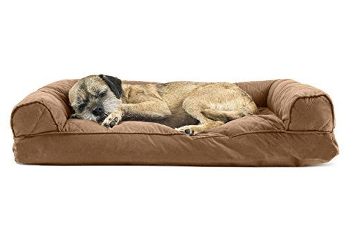 Furhaven Pet Quilted Pillow Sofa Pet Bed Warm Brown Medium