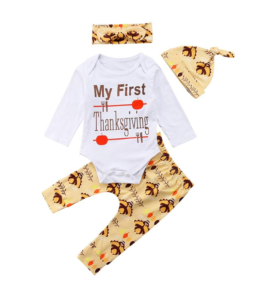 3d810114dc841 Miward Thanksgiving Outfit Newborn Baby Boy Girl Letter Print Romper Turkey  Print Pant Hat Headband 4pcs Clothes Set 612 Months Yellow *** Want to  recognize ...