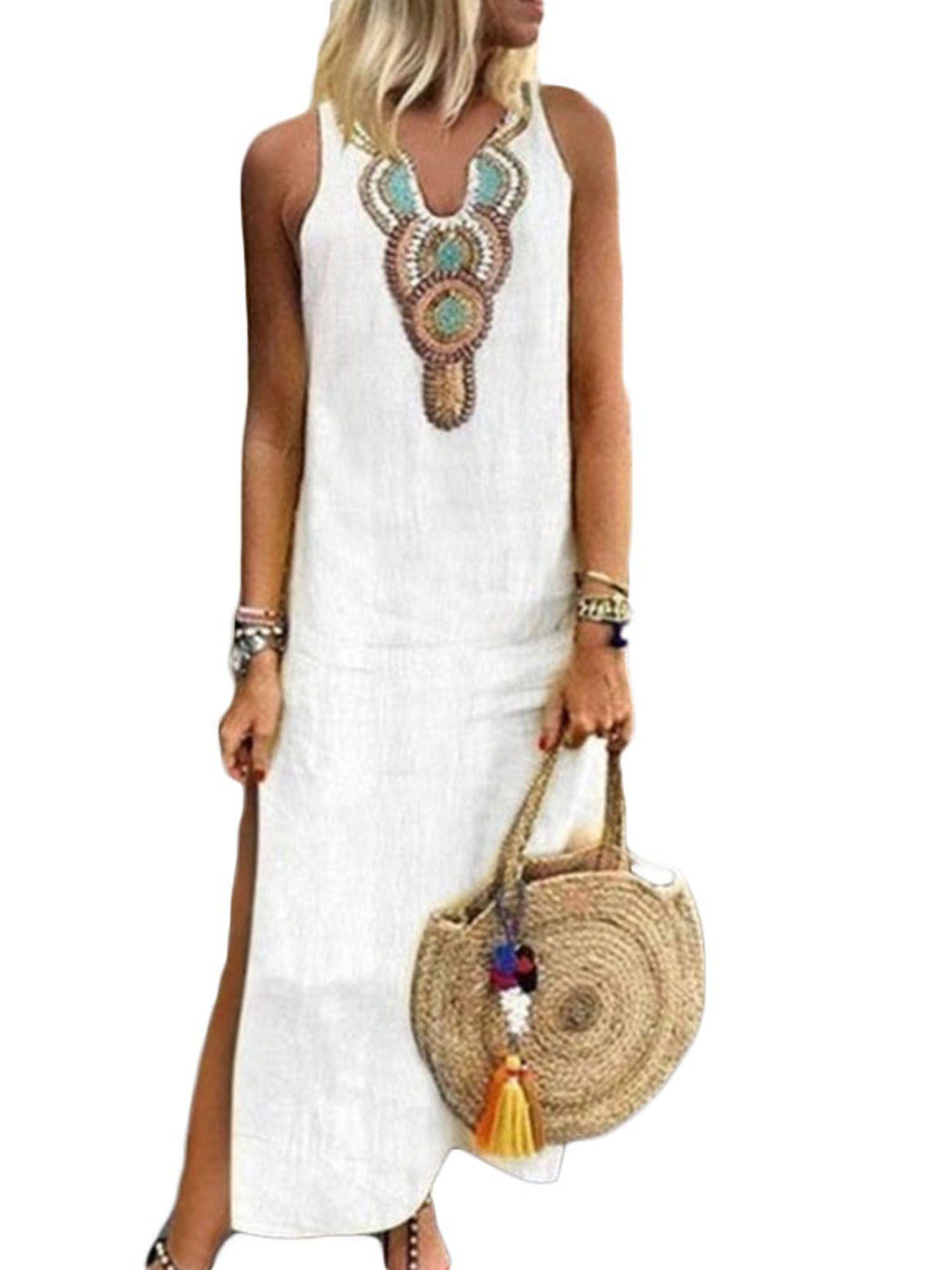Wodstyle Women S Plus Size Sleeveless V Neck Boho Split Loose Long Maxi Dress Walmart Com White Maxi Dresses Kaftan Maxi Dress Maxi Dress [ 2000 x 1500 Pixel ]