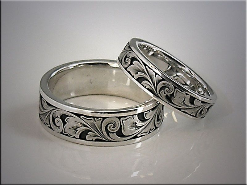 Scrolling Wedding Bands | 14K white gold relief engraved wedding bands with scroll pattern ...