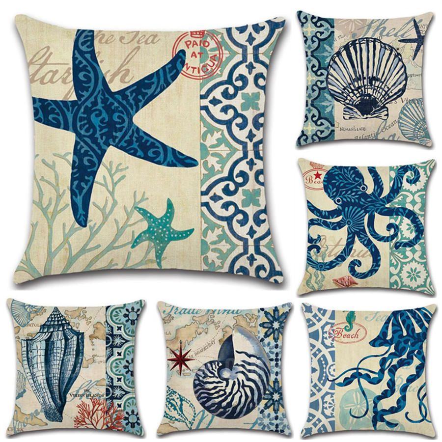 Sea Horse conch Printing Cotton Linen Cushion Cover Throw Pillow Case Home Decor