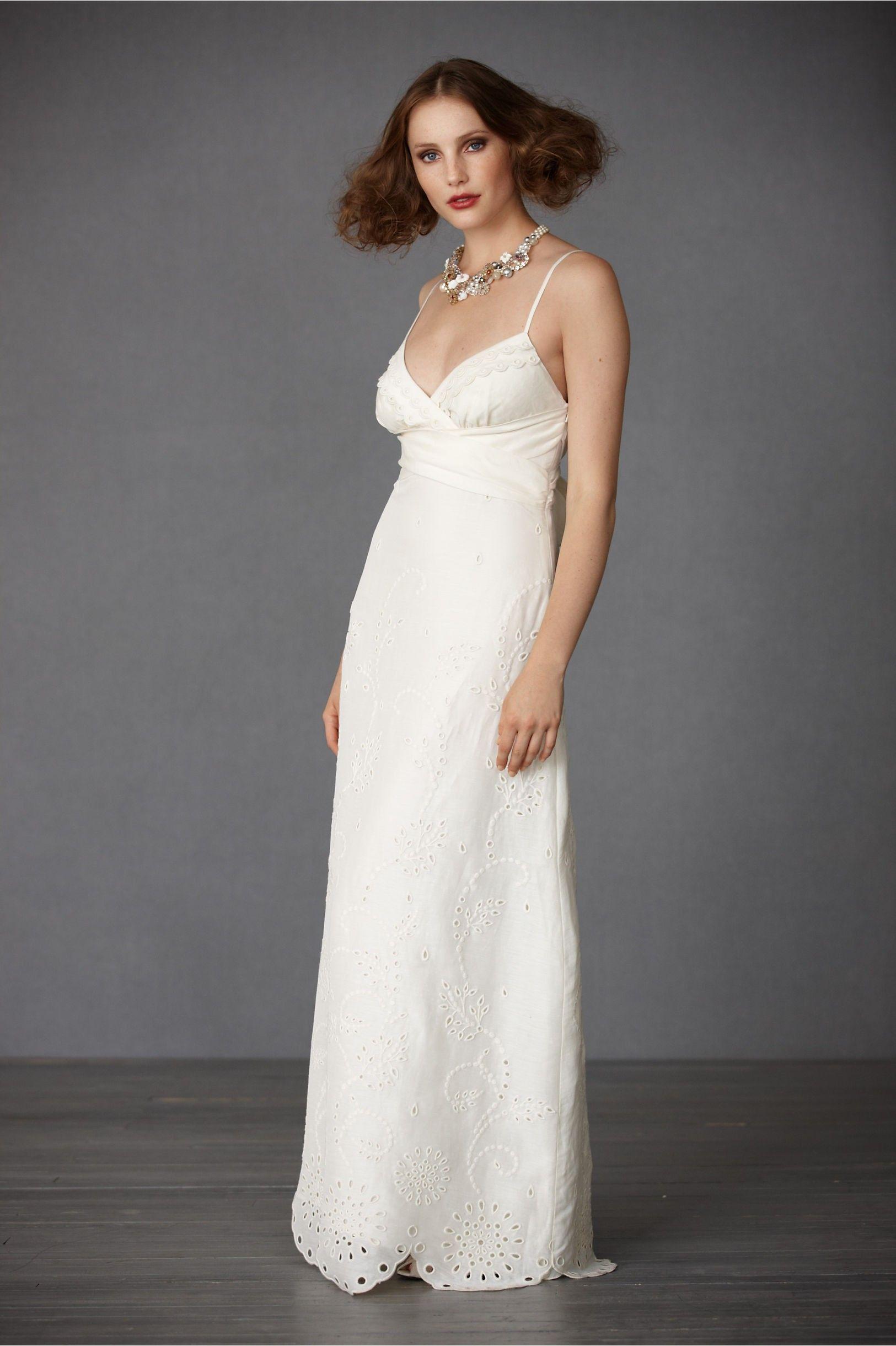Wedding beach dress  Silk Aline Spaghetti Straps Deep Vneck Wedding Dress  A Line