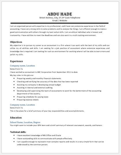 Resume For Accountant Accountant Resume 2018 Template Download At Httpwriteresume2 .