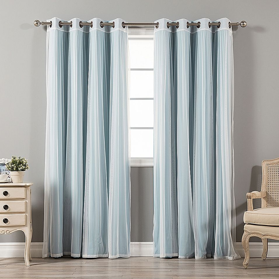 Decorinnovation Mix Match Tulle 84 Inch Blackout Window Curtain