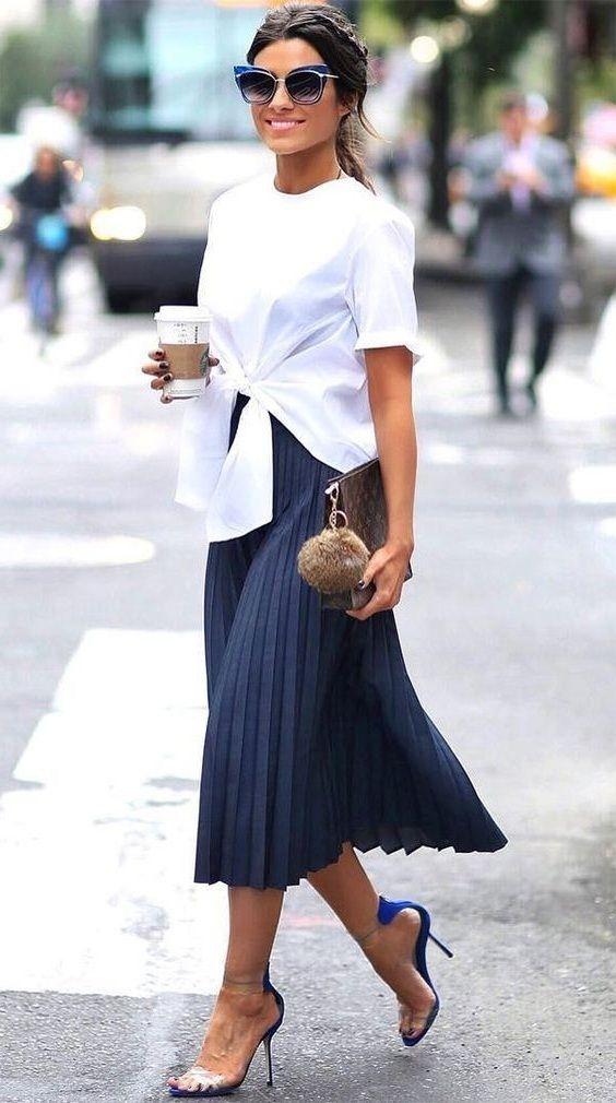 CLICK on the photo to SHOP this beautiful skirt  ) Navy dark blue pleated  high waist skirt midi length fall autumn winter casual long dark blue  pleated ... 414773461