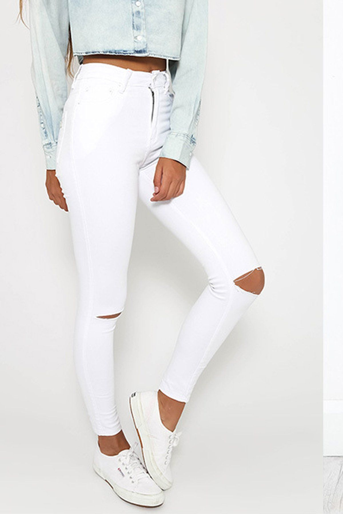 deff5bf455e High Waist Cut Out Holes Solid Color Long Pencil Pants. High Waist Cut Out  Holes Solid Color Long Pencil Pants White Ripped Skinny Jeans ...