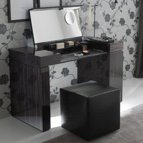 Nightfly Ebony Bedroom Vanity Set - Bedroom Vanities at Hayneedle - Bedroom Vanity Table