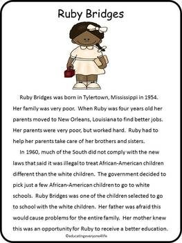Ruby Bridges A Leader In Civil Rights This Activity Book Has Reading Comprehension Graphic Organizers Fact And Opinion Practice More