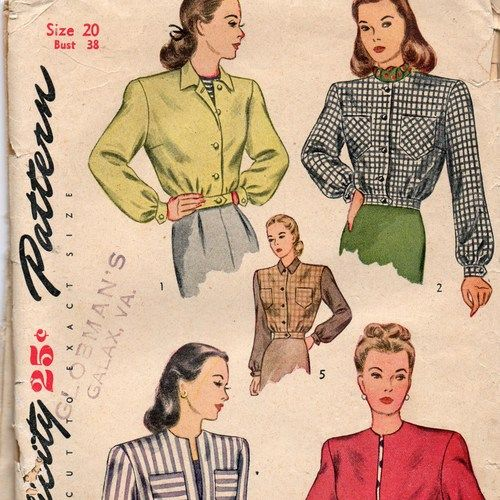 Simplicity 1535 1940s Misses Bomber Jacket Pattern Womens Vintage Sewing Pattern From Patterned Bomber Jacket Vintage Sewing Patterns Blouse Pattern Sewing