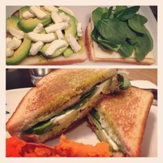 The Most Amazing Grilled Cheese Sandwich. EVER. Avocado, pesto, spinach, mozzarella, and goat cheese.