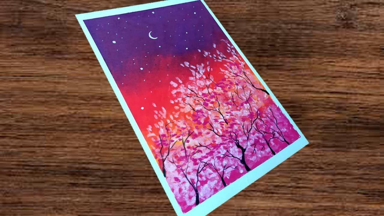 Oil Pastel Drawing 47 Cara Menggambar Pemandangan Pohon Sakura Oi Cara Menggambar Drawing Pastel