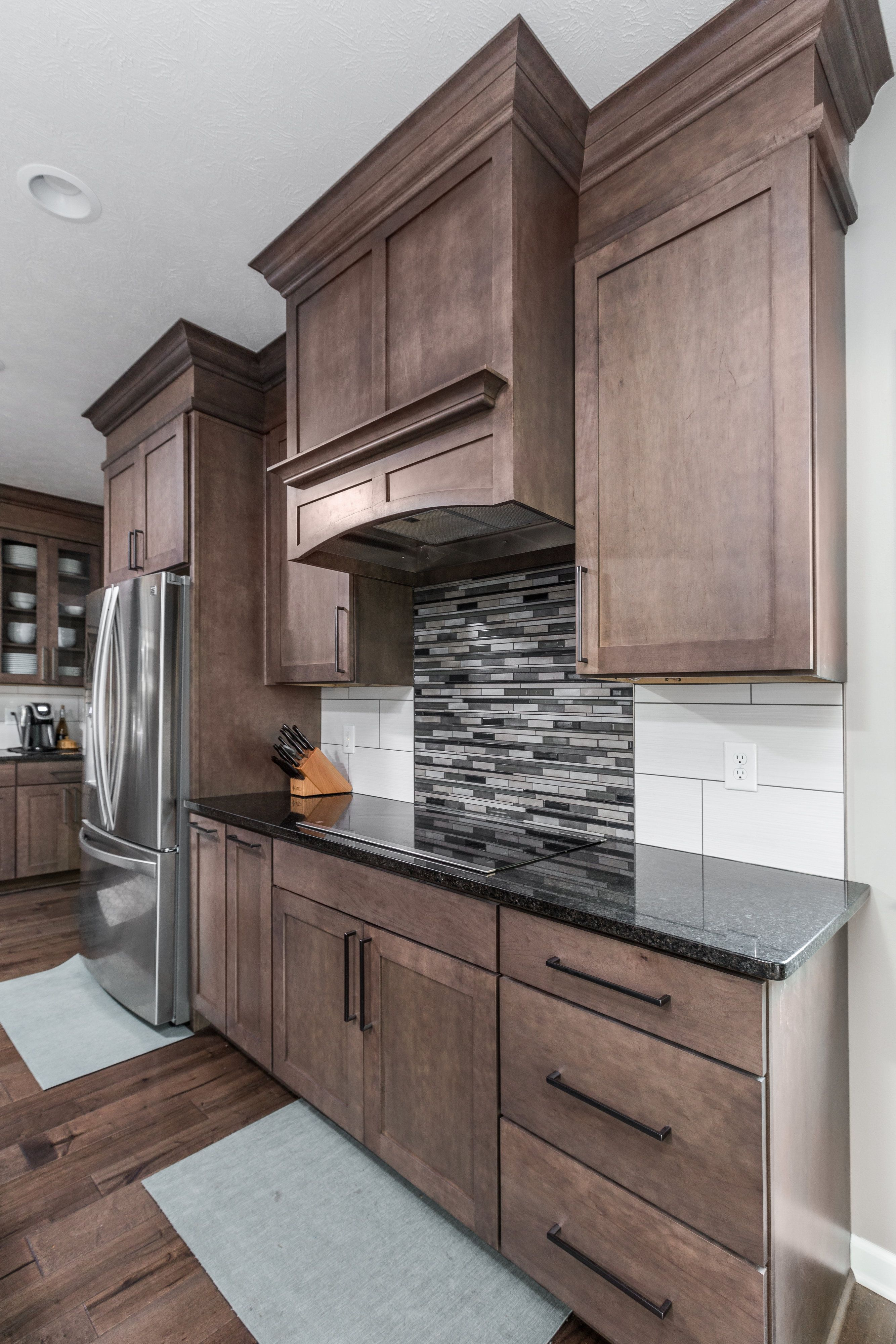 Modern Craftsman Styled Kitchen Remodel In Indiana With Stained Cabinets Bronze Decorative Hardwa Kitchen Remodel Design Cool Kitchens Craftsman Style Kitchen