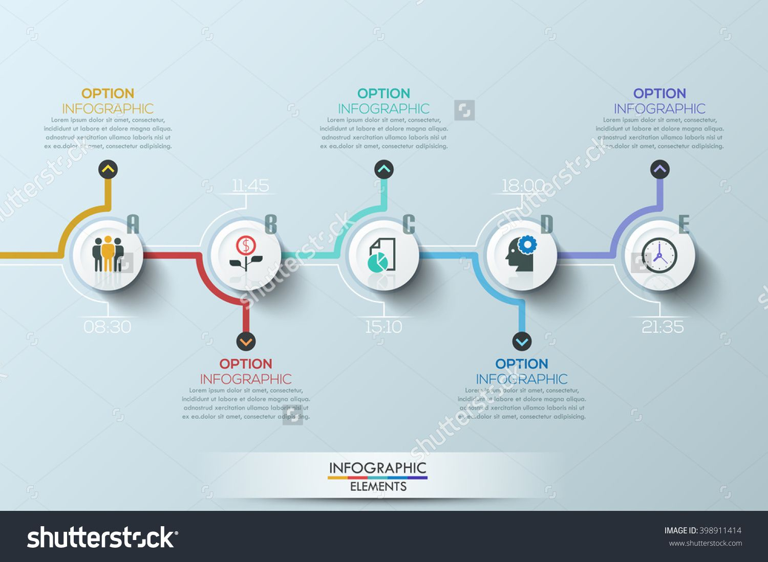 Modern Clean Business Circle Origami Style Timeline Banner. Vector ...