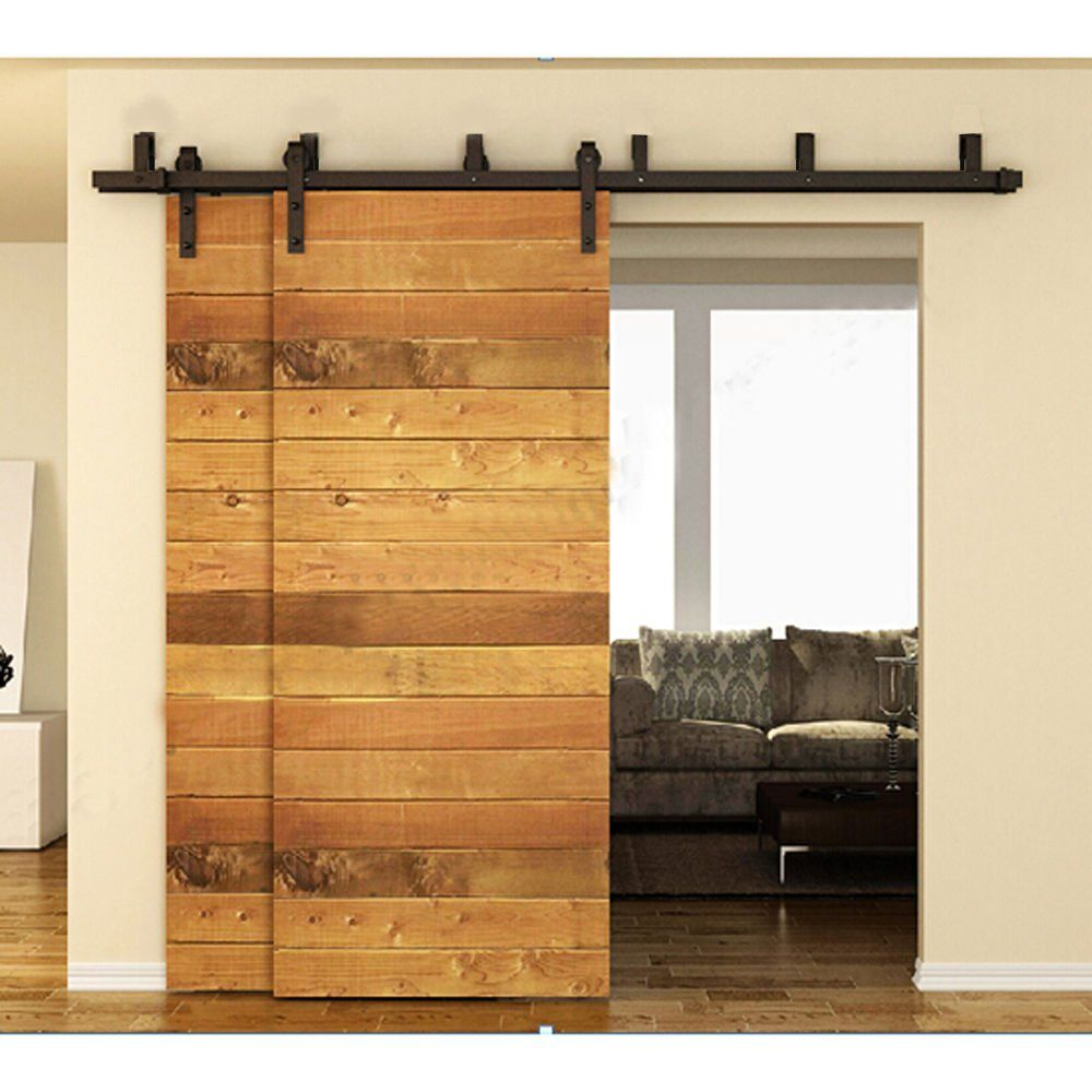 ccjh flat style bypass schiebet r barn holz schrank rustikal schwarz hardware track set schwarz. Black Bedroom Furniture Sets. Home Design Ideas