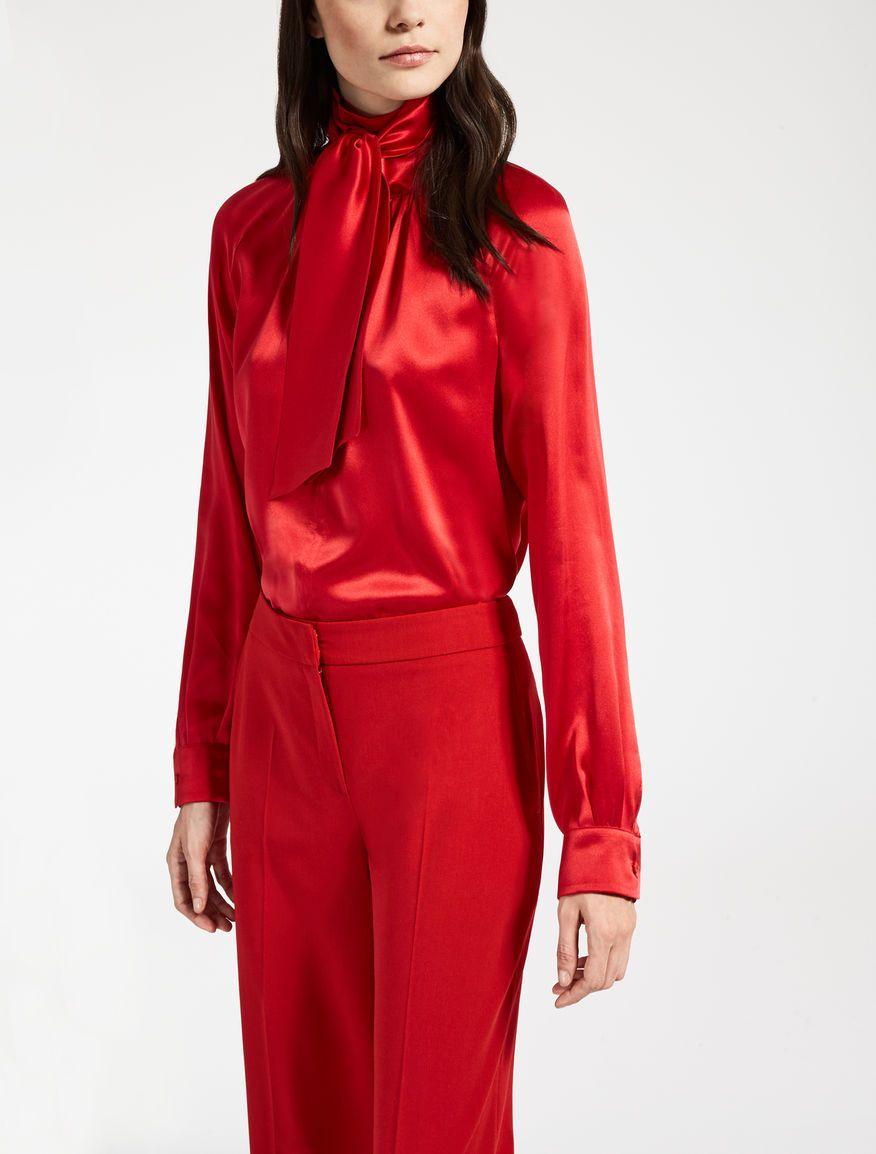 best service 5a392 68a80 Max Mara SORAIA rosso: Camicia in raso di seta.   Karen's ...