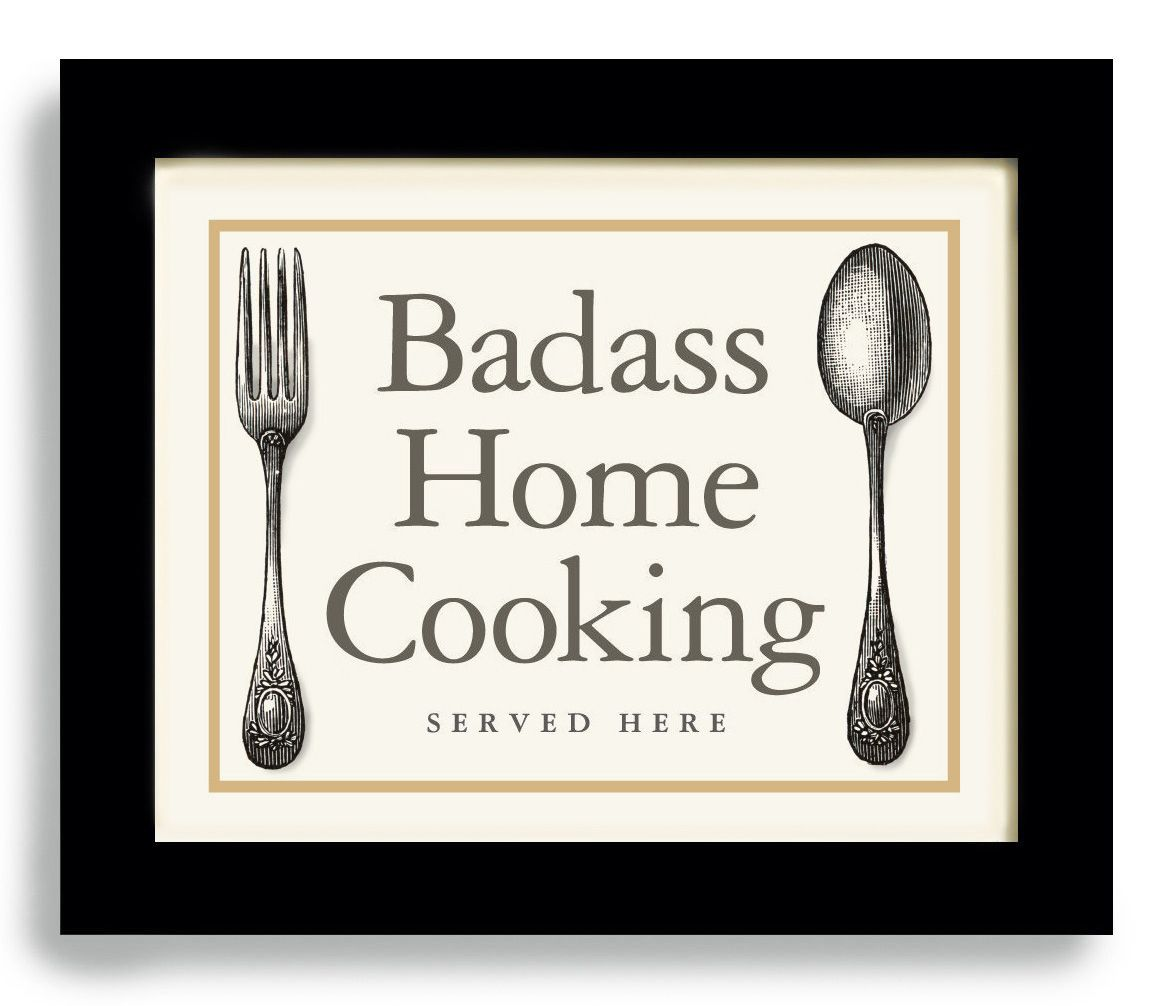 Badass home cooking vintage fork and spoon ironic maybe with