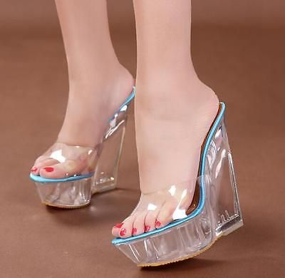 60040940573a Womens Ladies Peep Toe Mules HOT Wedge Heels Platform Clear Transparent  Sandals