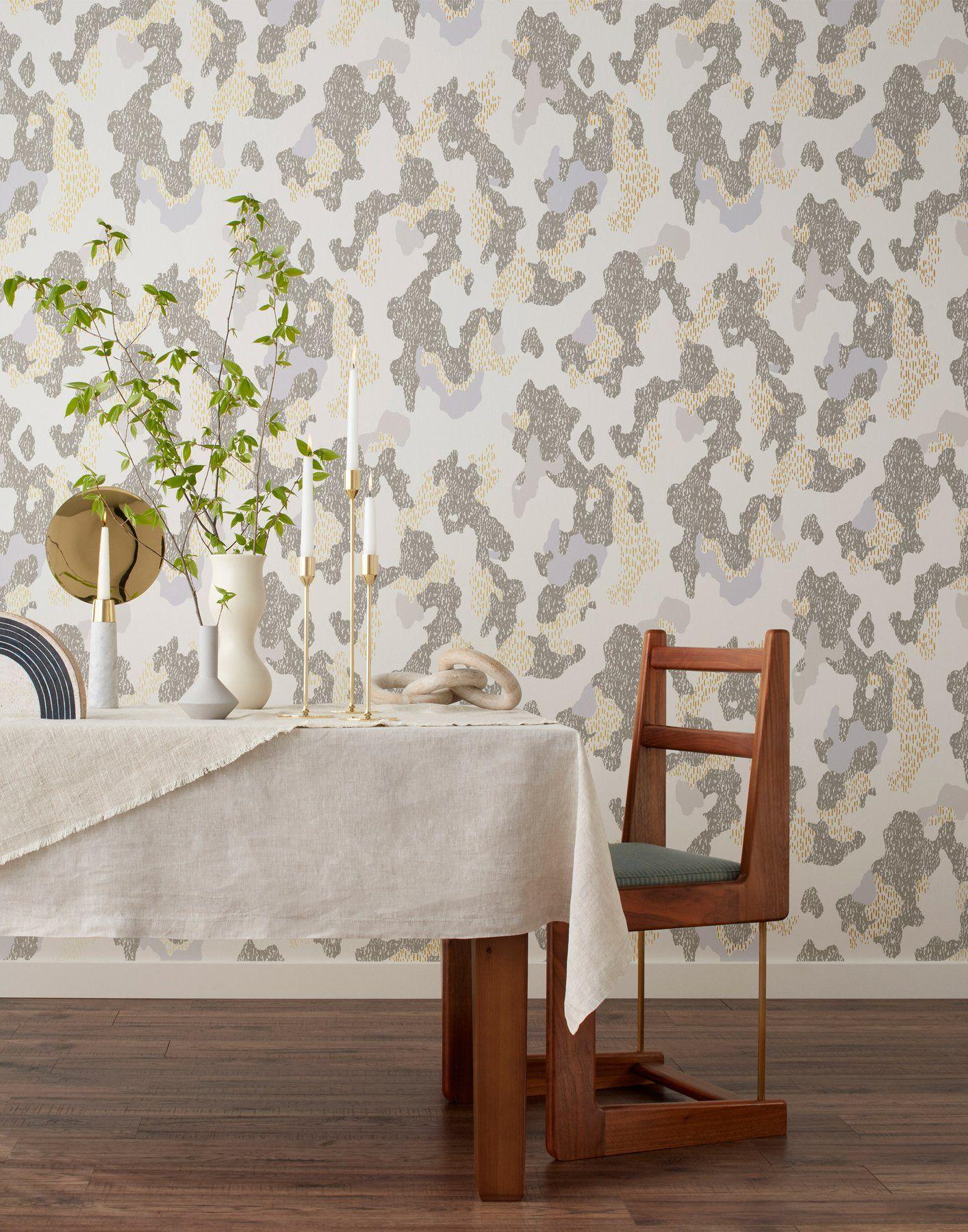 Tree Design Wallpaper Living Room: Grey And Cream Wallpaper, Beige Living