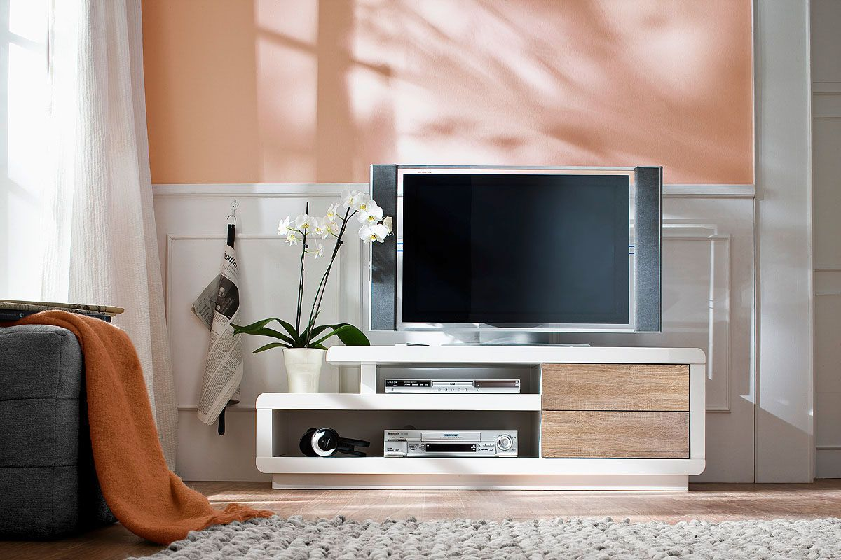 vente vintage touch 25461 salon meubles tv meuble tv 2 tiroirs cosma - Meuble Tv Blanc Glossy
