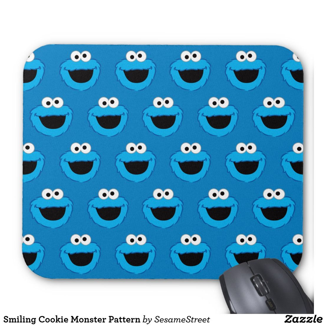 Smiling Cookie Monster Pattern Mouse Pad Zazzle Com