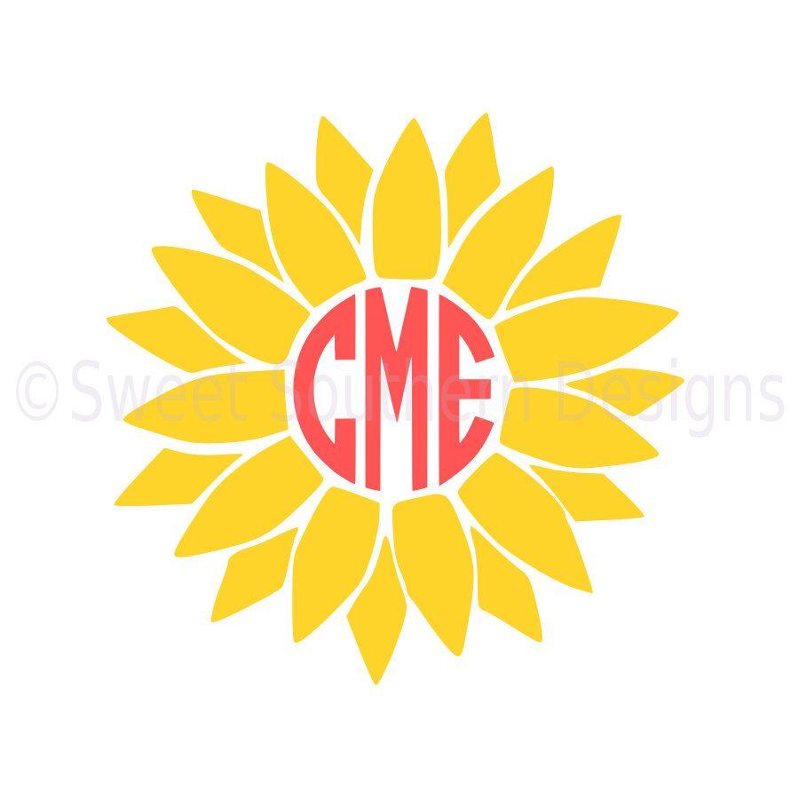 Sunflower monogram SVG instant download design for cricut ...