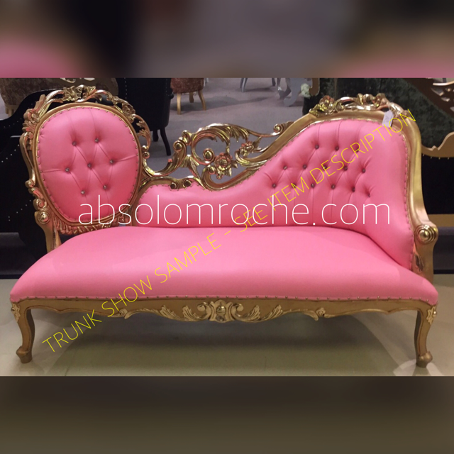 50% OFF PINK TRUNK SALE | Baroque Filigree Chaise Sofa Settee - Gold ...