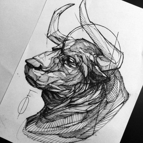 bull tatto | Art Taurus Bull Drawing