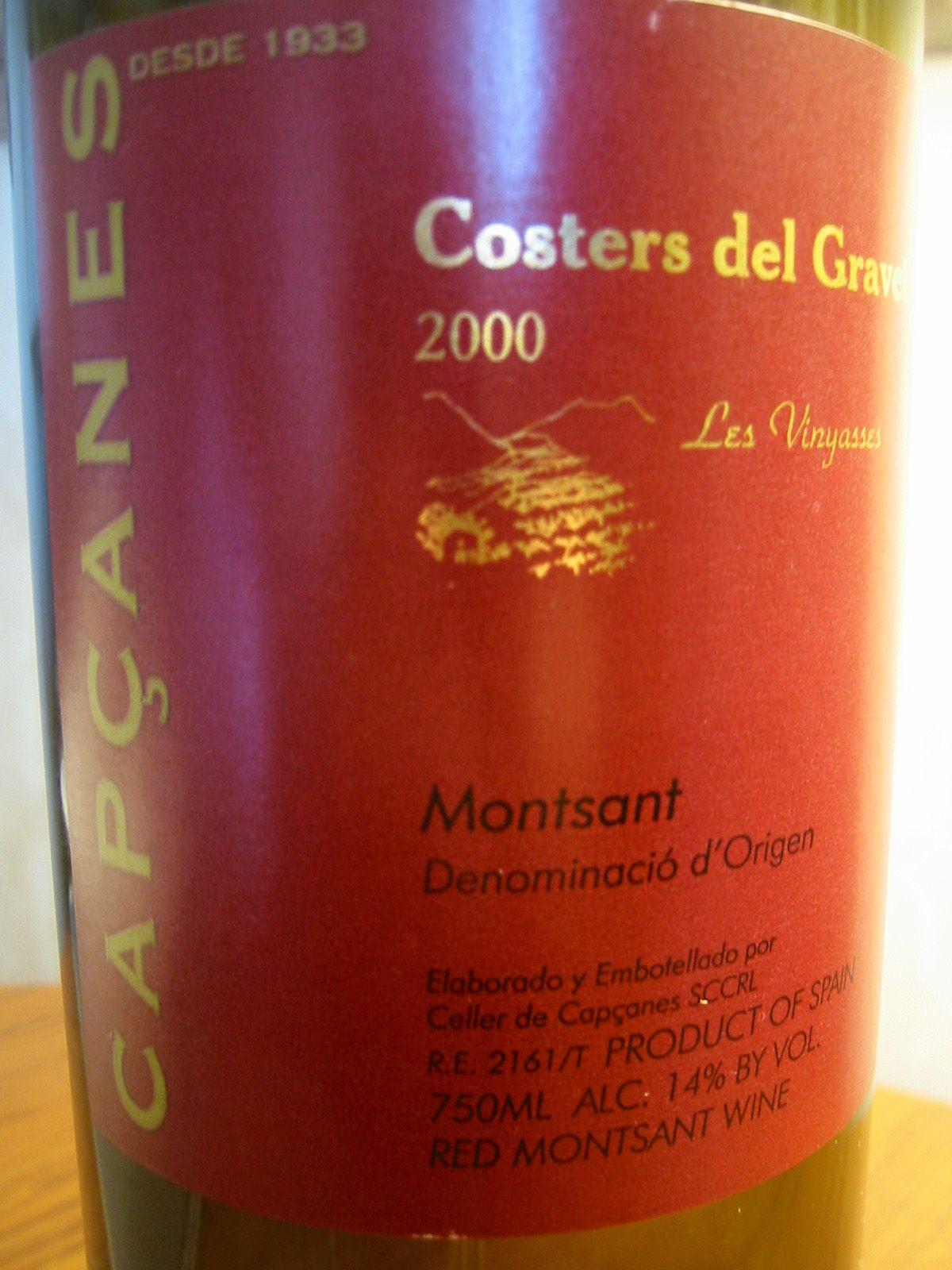 2000 Capcanes Costers Del Gravet Les Vinyasses Montsant Wine Recipes Wine From Spain Whiskey Bottle