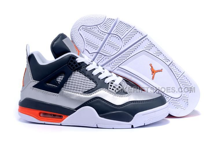 a2a24357f582 Mens Air Jordan 4 Retro Silver Navy-Orange