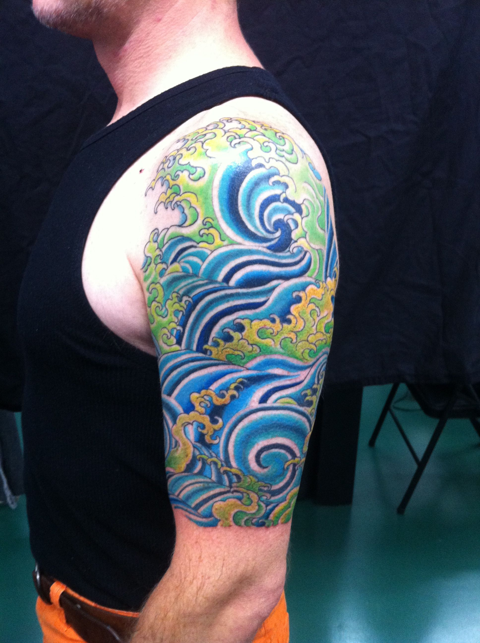 8edec6731 water half sleeve with colors | tattoos I love | Japanese water ...