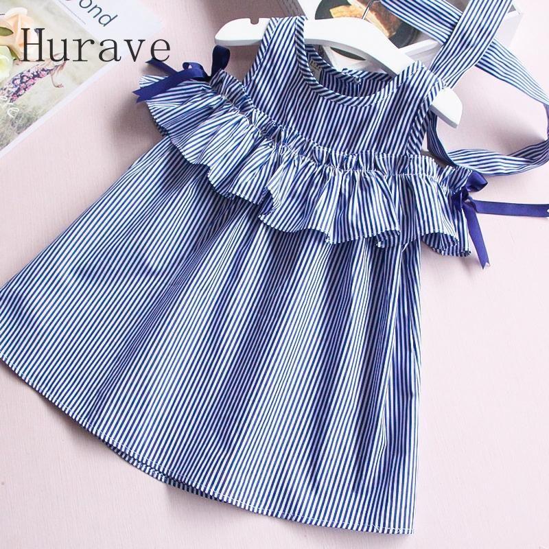 Summer ruffles girls dress girl clothing sleeveless striped dress for girl summer robe with hair bands