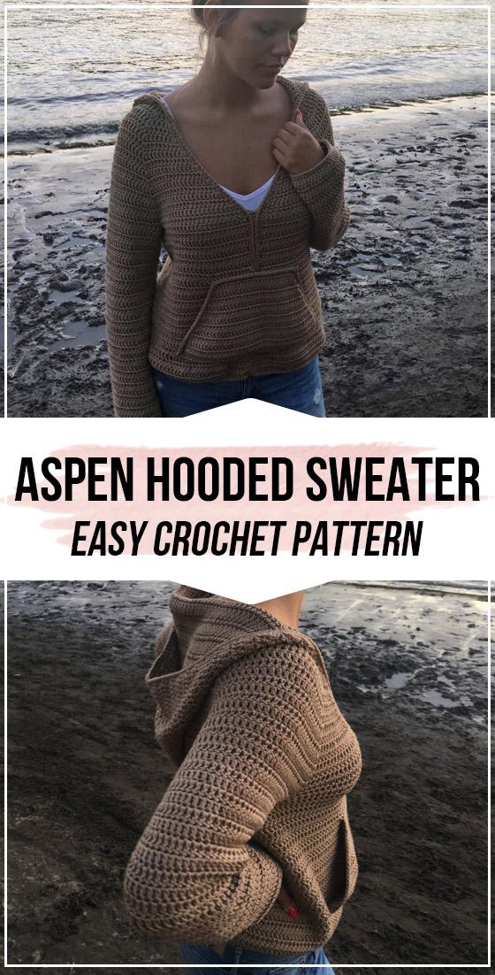 Photo of crochet Aspen Hooded Sweater pattern