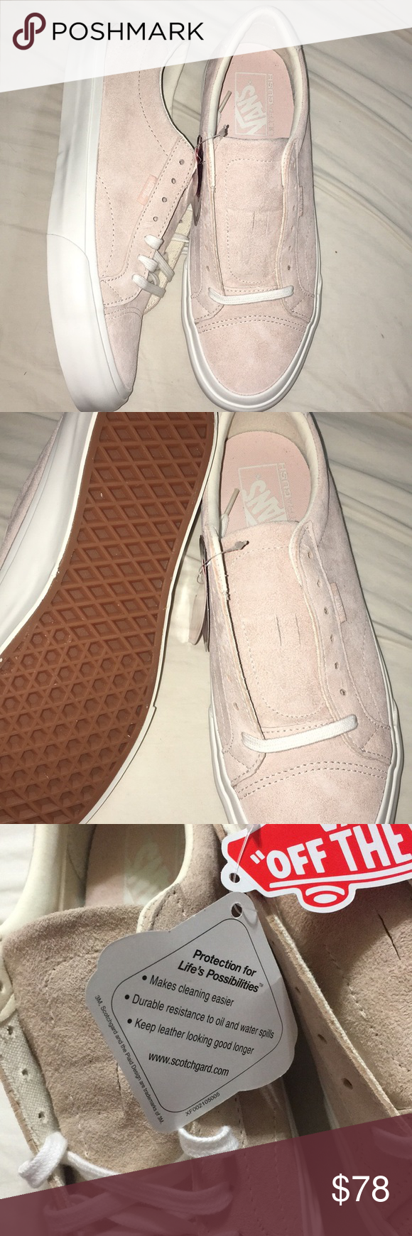 ca85060134 Baby pink and white with scotchgard Keeps leather looking good longer Men s  size 8.5 women s size 10 Vans Shoes Sneakers