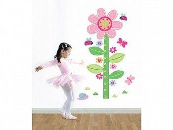 Muursticker Groeimeter Bloem - Een vrolijk en kleurrijk lente tafreel krijg je met deze muursticker bloem van Forwalls. Buiten een leuke decoratie voor de kinderkamer dient het eveneens als een groeimeter, om zo de groei van je kindje te volgen - kidsdecoshop.nl