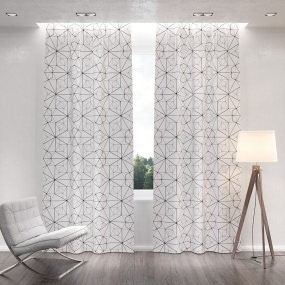 Sale 25 Off Geometric Patterned White Blackout Curtains Two Curtain Panels For Living R Pattern Curtains Living Room Geometric Curtains Curtains Living Room #pattern #curtains #for #living #room