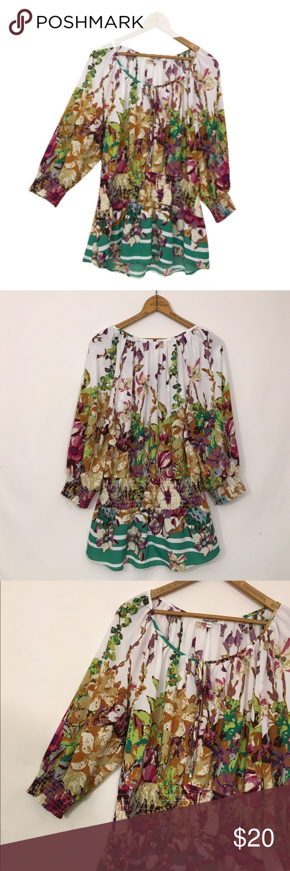DANIEL RAINN Printed gathered waist peasant top DANIEL RAINN Printed gathered waist peasant top  Excellent condition!   Polyester Slight sheerness and may require appropriate undergarments Elastic at waist, sleeve cuffs Tie, keyhole at neck  Bust 46 Length 28 Daniel Rainn Tops Blouses