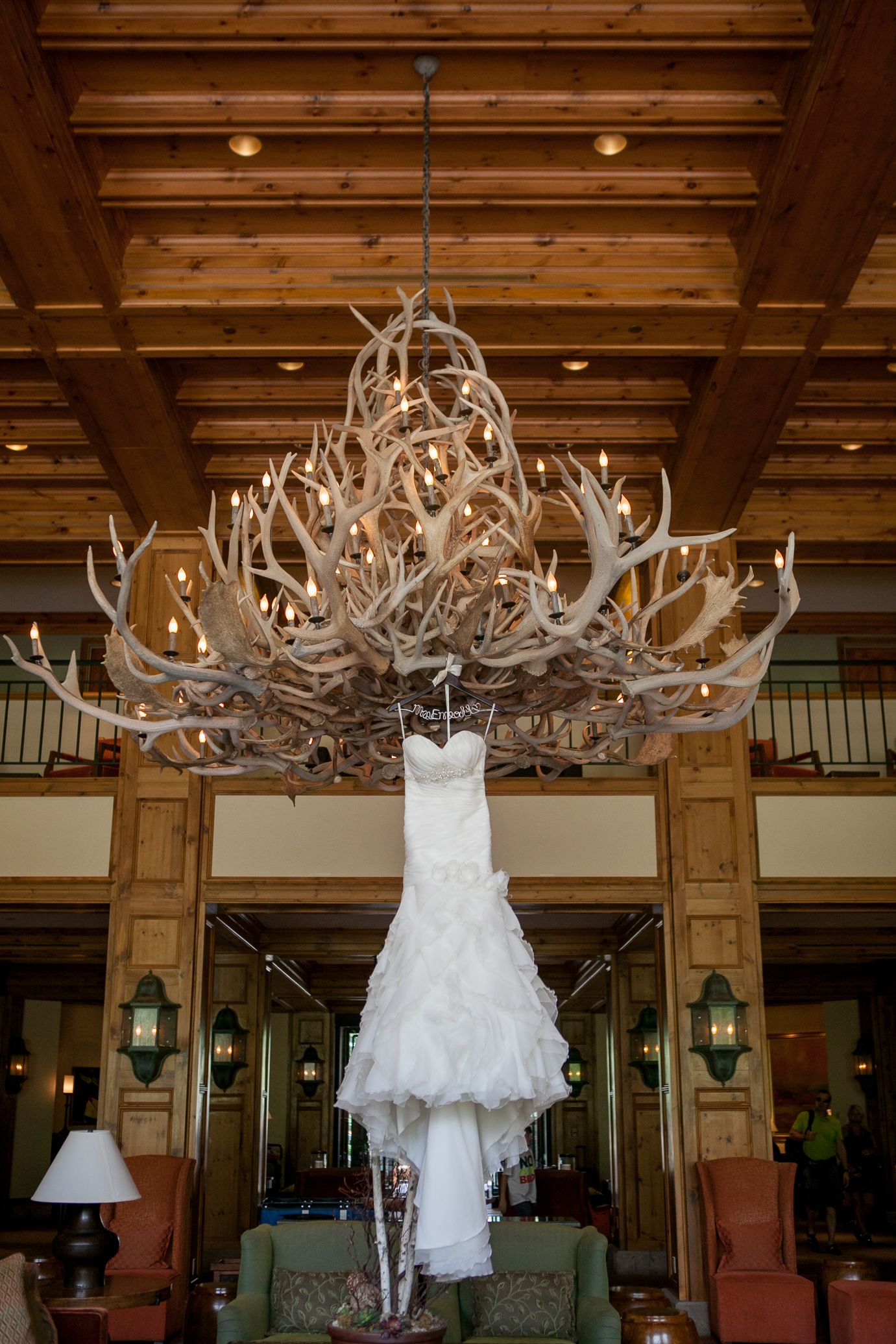 Incredible photo by jm photoart love the weddingdress on the unique antler chandelier at park hyatt beaver creek resort spa in rocky mountain colorado arubaitofo Image collections