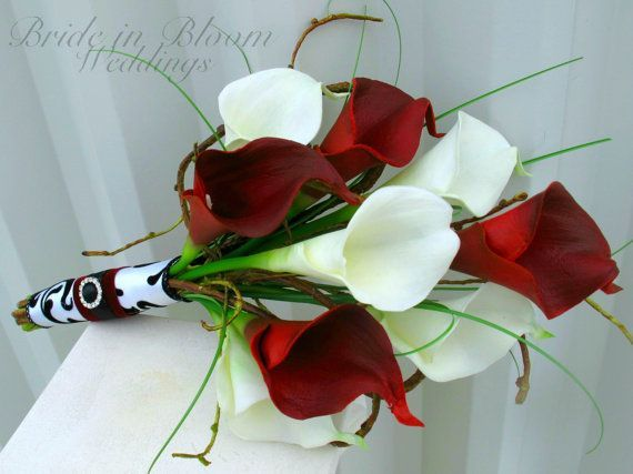 Wedding bouquet real touch red white and black calla lily bridesmaid red black and white wedding bouquets bridal bouquet red white black google search pretty flowers mightylinksfo