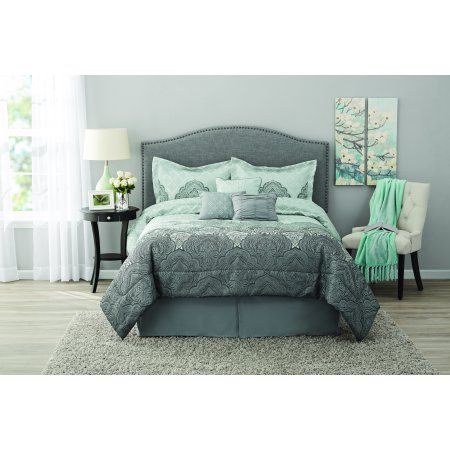 Mainstays Anver Mint Damask 7 Piece Bedding Comforter Set